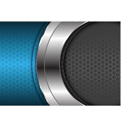 Abstract silver curve center blue gray hexagon vector