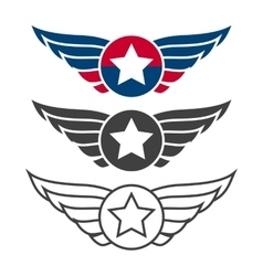 Aviation emblem set badges or logos vector