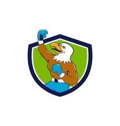 Bald Eagle Boxer Pumping Fist Crest Cartoon vector