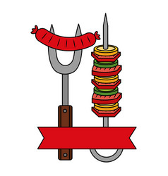barbecue fork sausage and skewer vector image