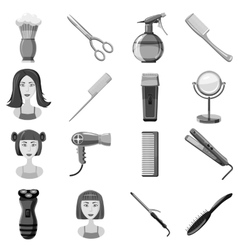 Barber icons set gray monochrome style vector