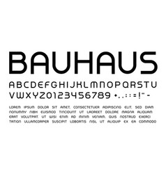 bauhaus letters and numbers set rounded headline vector image