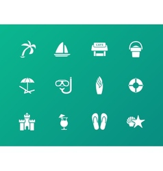 Beach icons on green background vector image