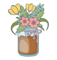Beautiful nature flowers cartoon vector