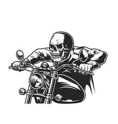 Biker skeleton riding motorcycle vector