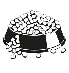 Black and white overfilled pet food bowl vector