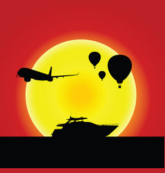 boat and airplane and air balloon in sunset vector image