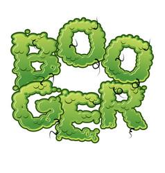 Booger snot slippery lettering snvel typography vector