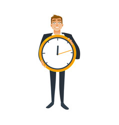 businessman and time concept with office worker in vector image