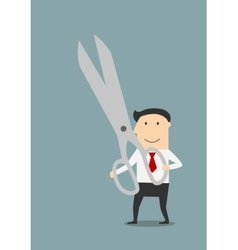 Businessman with a large pair of sharp scissors vector