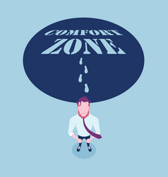 Businessmen walking out comfort zone vector