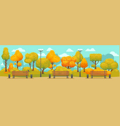 Cartoon autumn park panorama autumnal city parks vector