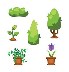 Cartoon garden green tree vector