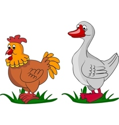 Cartoon goose and chicken on grass vector image