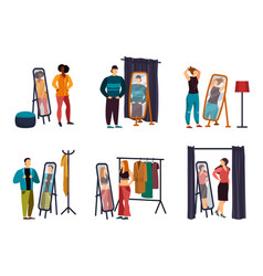 cartoon people using wardrobe at shop or store vector image