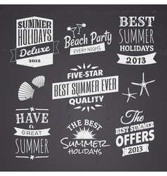 chalkboard style typographic summer designs vector image