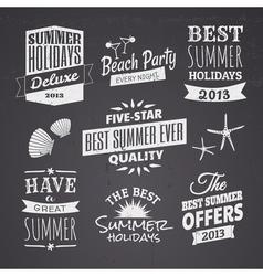 Chalkboard style typographic summer designs vector