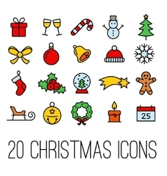 christmas line icons collection vector image