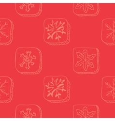 Christmas pattern with snowflake sketch vector image