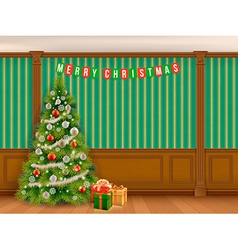 Christmas tree in cabinet with wooden panels vector