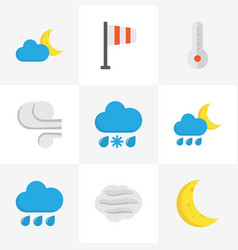 Climate flat icons set collection of banner rain vector