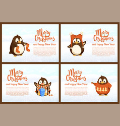 collection greeting card with pinguins vector image
