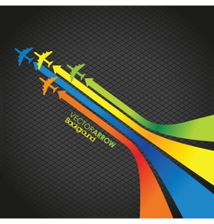 coloured plane arrow background vector image