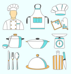 Cook and kitchenware icon vector