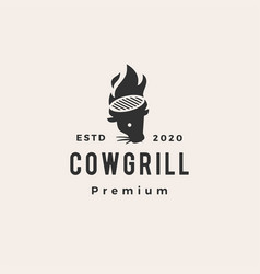 cow grill hipster vintage logo icon vector image