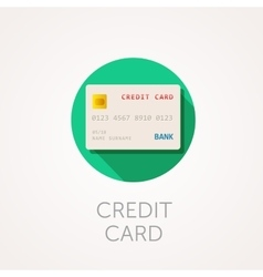 Credit card Icon Flat design style with long vector image