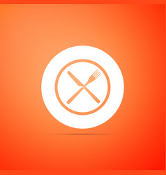 crossed fork and knife on plate icon isolated vector image