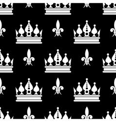 Crowns fleur de lis seamless pattern in vector