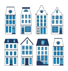 Cute amsterdam houses colorful set vector