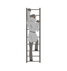 detective man character climbing on a ladder vector image vector image