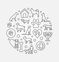 Dogs round outline vector