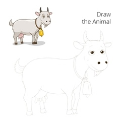 Draw animal goat educational game vector