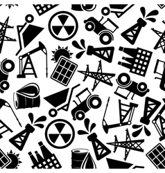 Energy resources black and white seamless pattern vector image