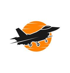 Fighter plane maneuver logo vector