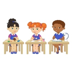 Funny pupils sit on desks read draw clay cartoon vector image