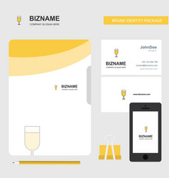 glass business logo file cover visiting card and vector image