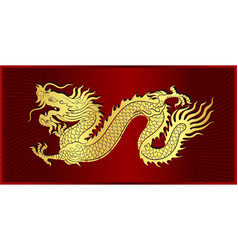 Gold of chinese dragon crawling vector