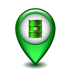 green glossy style map pointer with green oil vector image
