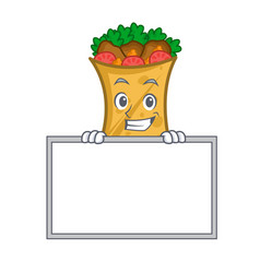grinning kebab wrap character cartoon with board vector image