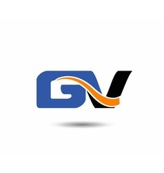 GV company linked letter logo vector image