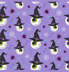 Halloween eyeball seamless pattern on purple vector