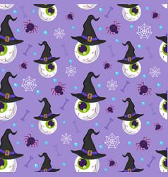 halloween eyeball seamless pattern on purple vector image