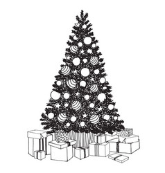 Hand drawn decorated christmas tree with gift vector
