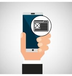 Hand smartphone network social vector