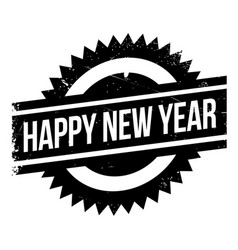 happy new year rubber stamp vector image