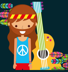 hippie man with guitar musical retro vector image
